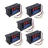 diymore 5PCS 0.28' Digital Voltmeter Ammeter DC 100V 10A Amp Voltage Current Volt Amp Meter Tester 3 Bits Dual LED Display Panel(Red-Blue)