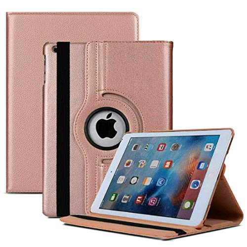 MH TECH 360 Rotating PU Leather Smart Stand Case Cover for Apple iPad 5th Gen 9.7' 2017, iPad 6th Gen 9.7' 2018, Air 1 1st Generation 2013 and Air 2 2014 (Rose Gold)