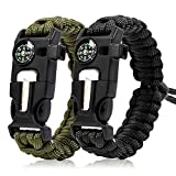 Zhao.Fu Paracord Survival Bracelet(2 Pcs)-Adjustable Outdoor Emergency Gear,Whistle,Compass,Emergency Knife,Fire Starter,Multifunctional Tactical Equipment,for Hunting and Fishing,Camping,Hiking