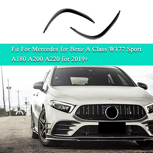 Super Eight Parachoques Delantero Splitter Spoiler Luz antiniebla Canard para Mercedes para Benz A Class W177 Sport A180 A200 A220 para 2019+, No Aplica A35 AMG, Pianoblack