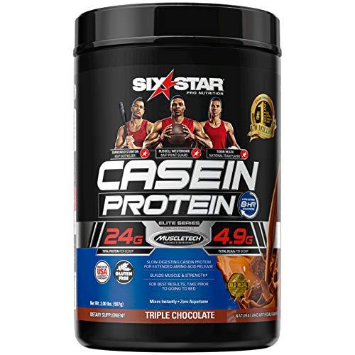 Casein Protein Powder | Six Star Elite Casein Protein Powder | Slow-Digesting Micellar Casein Protein Powder for Women & Men | Triple Chocolate Protein Powder, 2 lbs (26 Servings)(package may vary)