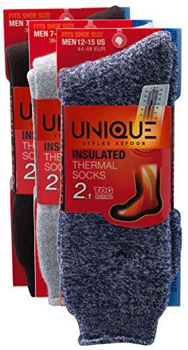 Set of 3 Thermal Socks for Men Heated Cold Weather Socks Men Warm Insulated Socks for Winter (7-12, Dark Grey, Grey, Blue)
