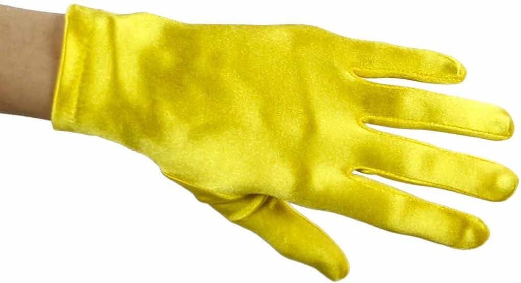 Greatlookz Beautiful Wrist Length Short Satin Gloves in Yellow