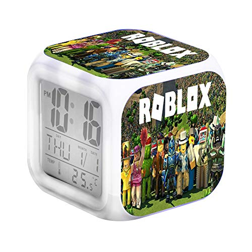 YOKUBOU Roblox LED Light Up Wecker Light Nightlight Zubehör-Zeit, Temperatur, Alarm, Datum (Roblox-E)
