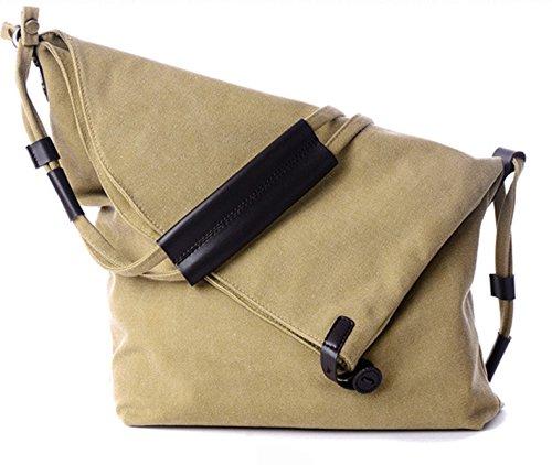 DNFC Canvas Umhängetasche Damen Tasche Schultertasche Retro Messenger Bag Shopper Vintage Handtasche Beuteltasche für Schule Reisen Ausgang und Freizeit (Khaki)