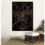 UDIYXC Mapa de la Ciudad de Luxemburgo, Negro y Dorado Póster Impresión en Lienzo Decoración para el hogar Sin Marco, 50x70cm