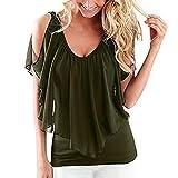 iHENGH Mode Damen Lose Kalte Schulter Fledermaus Ärmel Tops Bluse Shirt Sommer Casual T-Shirt (3XL, Armeegrün)