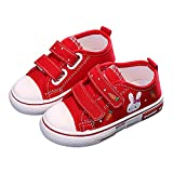 CozystepToddler Boys Girls Slip On Canvas Sneakers Little Kid Unisex Adjustable Strap Walking Shoes Lazy Shoes with Cartoon Hook and Loops (Rabbit Red, Numeric_10)