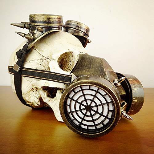 Miaoao-mask Steampunk Maske, Steampunk Kostüm-Abendkleid Biohazard Steampunk Gasmaske Goggles Spikes Skeleton Krieger Todes Masken-Maskerade-Cosplay Halloween Kostüm-Stützen (Farbe : Gold)