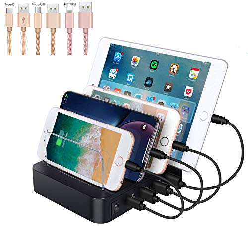FMOGE USB Charging Station 4 Ports USB Dock, 60W Multi-Port Stand Desktop Organizer,Desktop Charger for MacBook Pro/Air/IPad Pro/S10/IPhone 11/Pro/Max and More,Induction Chargers