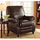 Better Homes and Gardens Nailhead Leather Recliner WM3474, Antique Brown
