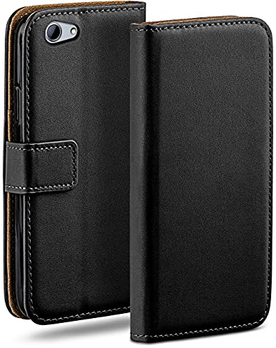 moex Klapphülle kompatibel mit HTC One A9s Hülle klappbar, Handyhülle mit Kartenfach, 360 Grad Flip Hülle, Vegan Leder Handytasche, Schwarz