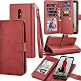 LG Stylo 5 Case, 2019 LG Stylo 5 Wallet Case, Tekcoo Luxury ID Cash Credit Card Slots Holder PU Leather Carrying Folio Flip Cover Cases [Detachable Magnetic Hard Case] Kickstand Strap [Wine Red]