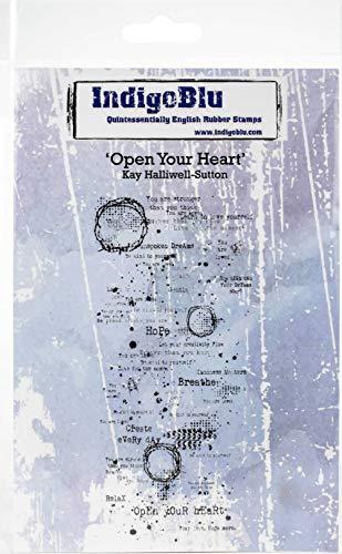 IndigoBlu selbstklebender Stempel, 12,7 x 10,2 cm, Open Your Heart, mehrfarbig