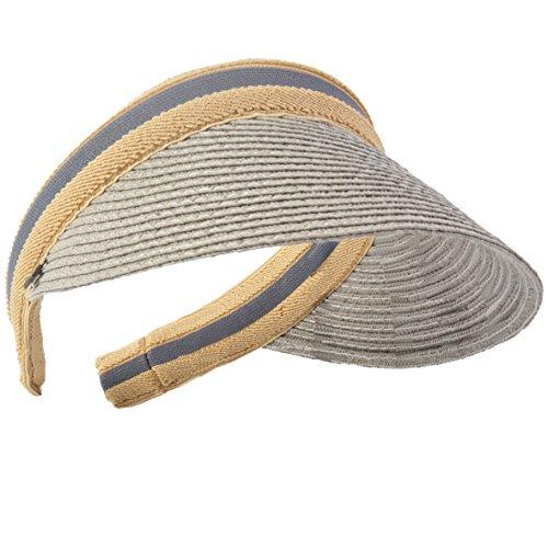 HISSHE Damen Golf Visier Strand Stroh Sonnenhut Visoren Hüte (Grau)