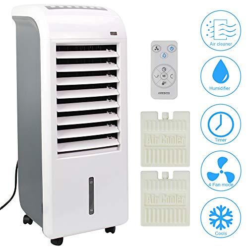 4in1 Arebos Aircooler | 4,5 Liter | Mobiles Klimagerät | Luftreiniger | Ventilator mit Fernbedienung | Luftkühler | Timer | 4 Stufen