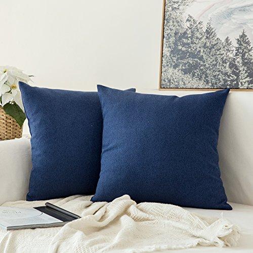 MIULEE 2er Pack Weiche Kissenbezug Kopfkissenbezug Leinen Kiessehülle für Sofa Schlafzimmer Auto mit Reißverschlüsse 40x40 cm Kissenbezüge Navy Blau