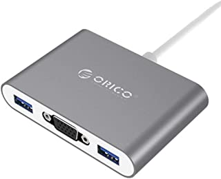 ORICO Aluminum HUB with Type-C to VGA/Type-C/Type-A Converter USB3.1 Gen1 5Gbps with 3 USB3.0 Ports for Mac/Windows/Linux(...