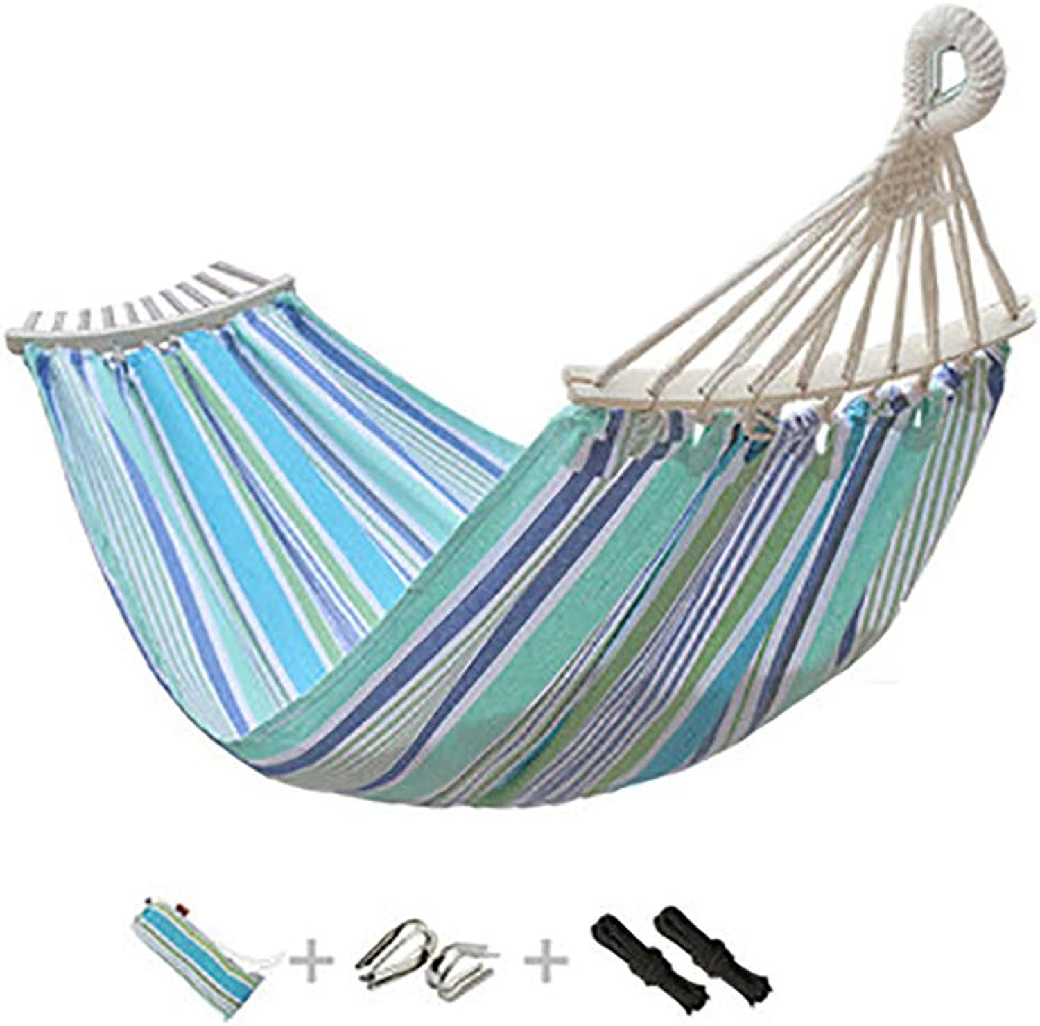 Outdoor Striped Camping Hammock, with Wooden Stick Canvas Portable Hanging Sheets, LoadBearing 150kg, Connecting Buckle Rope Storage Bag, for Travel Beach Garden