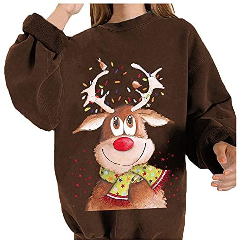 Boshivw Weihnachtspulli Damen,WeihnachtsdruckKapuzenpulloverReindeer Druck Sweatshirt Rundhals Langarm Festlicher Weihnachtsmotiv Pullover Bluse