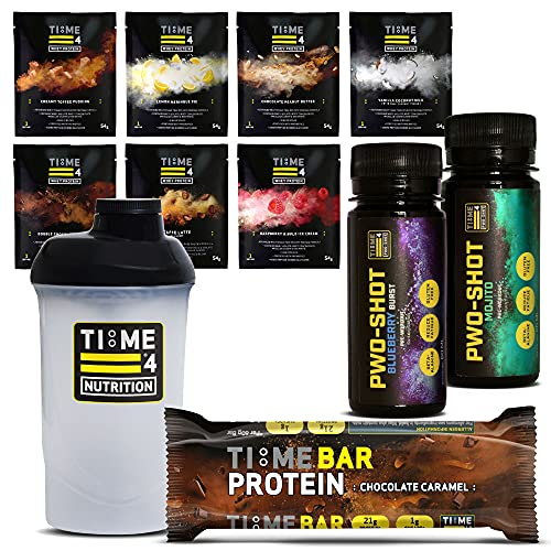 Time 4 Nutrition – Try Before You Buy Stack – 7 x Whey Protein Sachets, 2 x PWO Pre Workout Shot Amps, 1 x Time Bar Protein Bar & 1 x Protein Shaker Bottle