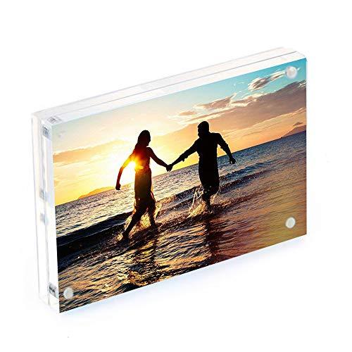 Cornici per foto in acrilico, 10 x 15 cm, con magneti, per contenere 10 mm+10 mm di spessore.