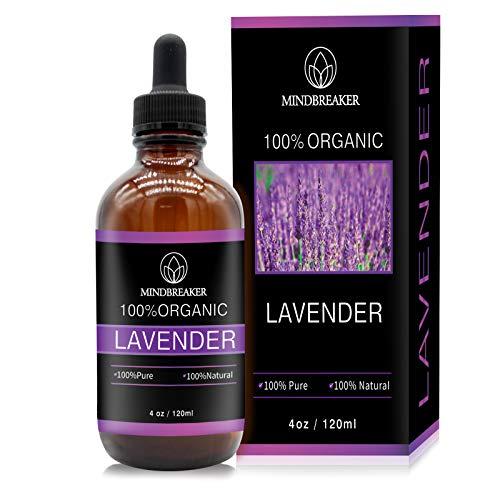 Aceite esencial de lavanda, Mindbreaker 100% el aceite esencial del grado terapéutico orgánico puro, consigue un mejor sueño, aromatherapy, antiinflamatorio, alivia dolores de cabeza (120ml Upgrade)