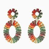 Pendientes ovalados coloridos tejidos a mano Raffia joyería para la exposición