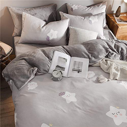 Preisvergleich Produktbild RESUXI Teddy Fleece Bettwäsche Set,  Winter Coral Fleece Double Velvet gepolsterte Bettwäsche Bettbezüge,  Einzelbettbezug,  King Size Bettwäsche Set@G_1.5m Bett (4 Stück)