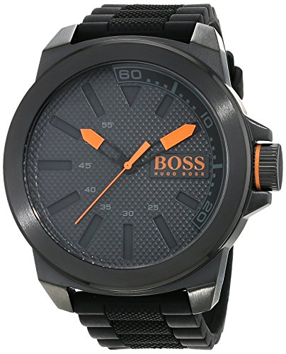 Hugo Boss Orange New York herenhorloge kwarts met zwarte siliconen armband 1513004
