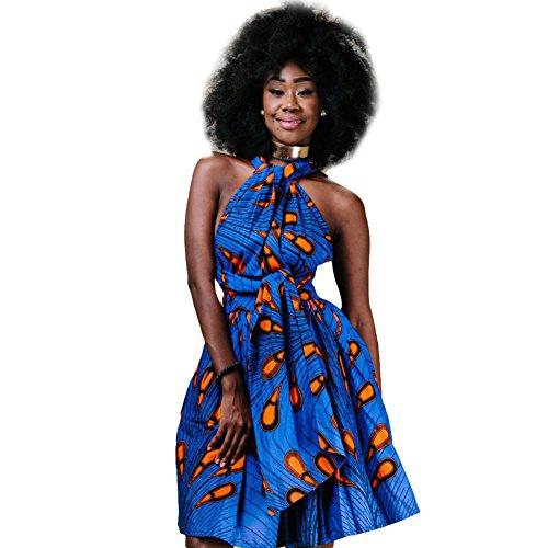 Damen Frauen Afrikanisches Kleid Ethnischer Stil Multi-tragen Jahrgang Abendkleid Multiway Kurzes Kleider Elegantes Sommer Verbandkleid Strandkleid Cocktailkleid Partykleid Mehrfarbig 40