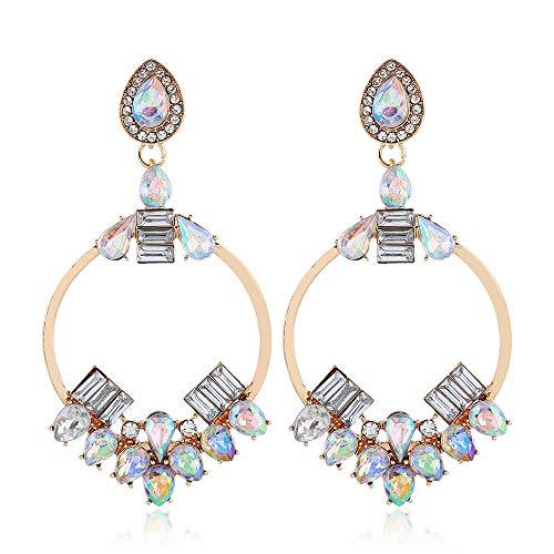 Joyas europeas y americanas pendientes redondos de diamantes personalidad de la moda pendientes de gota salvaje mujer-oro