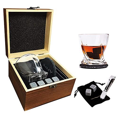 Piedras de whisky y regalo de cristal, 4 piedras de whisky + cristal Whisky Rock Rock Glass, Navidad/Cumpleaños/Día del Padre Regalos/Presente para hombres/m