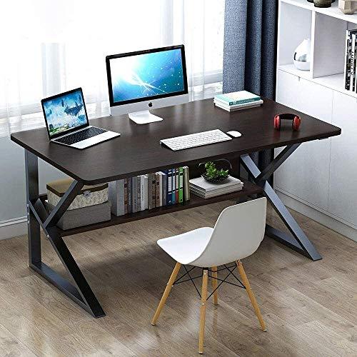 Computadora de escritorio, Estudio escritorio de oficina ordenador portátil PC cuadro de la tabla de estaciones de trabajo con el acero y estantería for Ministerio del juego Tabla ordenador, tamaño: 1