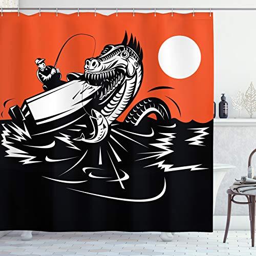 ABAKUHAUS Seeungeheuer Duschvorhang, Schlucken Boot & Mann, Waschbar & Leicht zu pflegen mit 12 Haken Hochwertiger Druck Farbfest Langhaltig, 175x200 cm, Vermilion Koksgraue