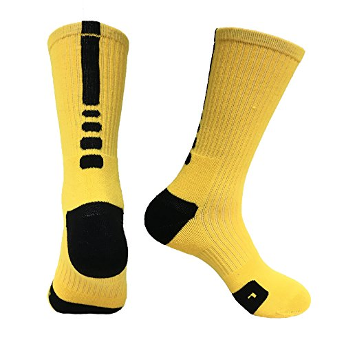 NOBRAND 5Pares De Calcetines Deportivos De Toalla En El Tubo Calcetines De Elite De Baloncesto De Secado Rápido Para Hombres Talla Única Amarilla Y Negra