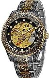 ZFAYFMA Reloj Mecánico Automático, Hombres Marca Top Sapphire Manos Luminosas Hombre 30m Impermeable Deportes Relojes Sport Sport Retro Gold