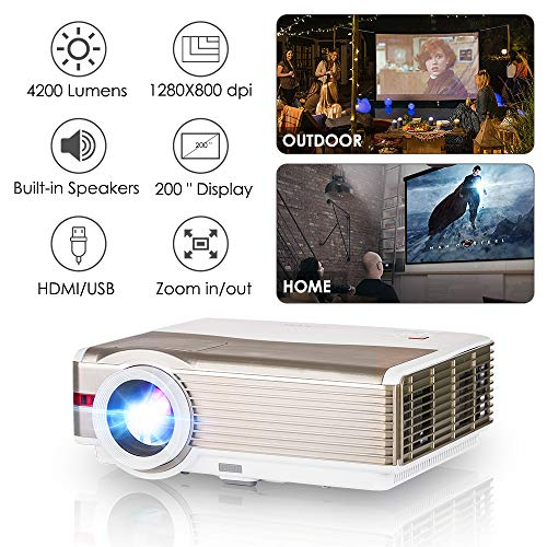 EUG Video Projector Home Theater System 5000 Lumen 1080P Support LED LCD Multimedia TV Projectors for Gaming Movie with HDMI USB Aux Audio VGA Built-in Speaker Zoom Function for Roku DVD Wii PS4 PC