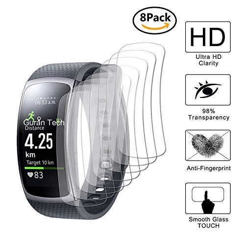 Guran [8 Stück] Bildschirmschutzfolie für Samsung Gear Fit 2 Smartwatch Volle Abdeckung Weicher Kompatibel Anti-Fingerprint HD Klar Schutzfolie Film