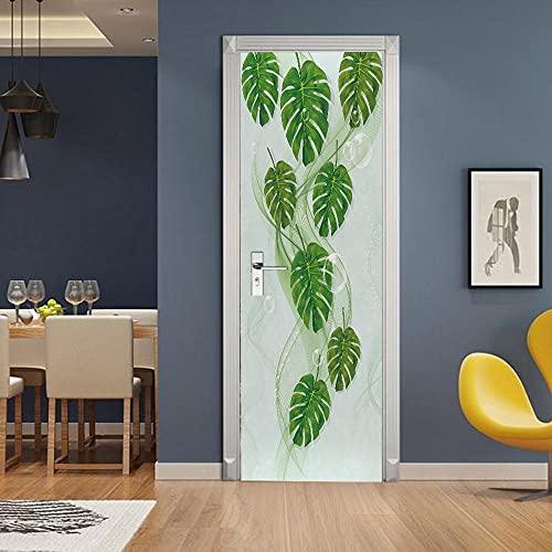 Pegatinas 3D para puertas interiores autoadhesivas, murales de pared, arte geométrico, hojas verdes, DIY extraíble impermeable vinilo PVC 77 x 220 cm