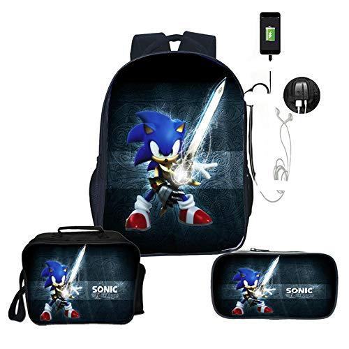 LINJIA Sonic Meal Pack Set Sonic 3Pcs/Sets Usb Backpack for Teenage Girls Boys Cartoon School Backpack Lunch Cooler Bag Pencil Case Students Bag