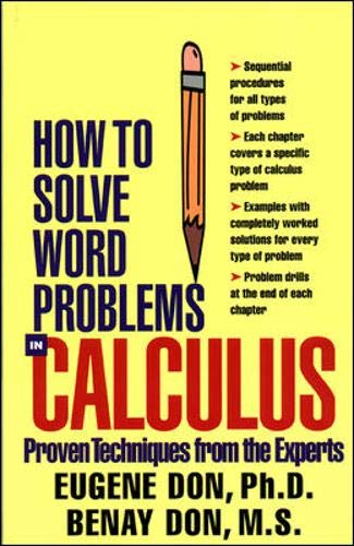 Download How to Solve Word Problems in Calculus (How to Solve Word Problems Series) 0071358978