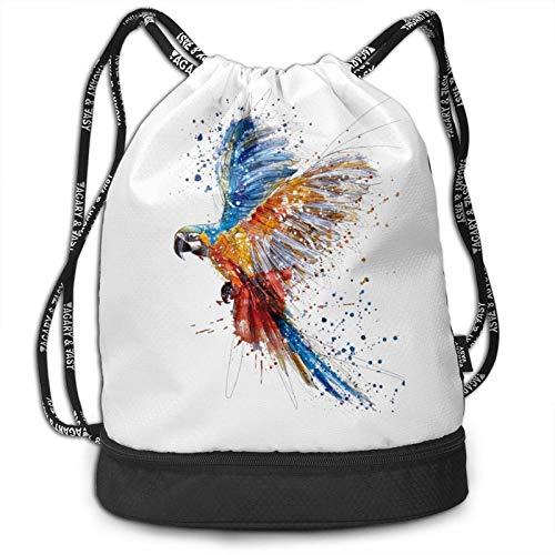 DJNGN Mochila con cordón, Bolso Coloreado a Mano de la Mochila del Paquete del Gimnasio del Viaje del Deporte de la impresión de los pájaros del Loro