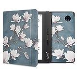 kwmobile Hülle kompatibel mit Tolino Vision 5 - Kunstleder eReader Schutzhülle Cover Case - Magnolien Taupe Weiß Blaugrau