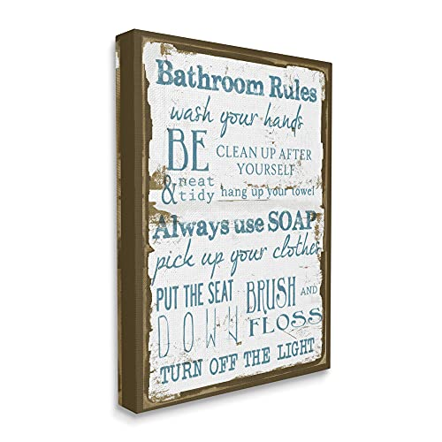 Stupell Home Décor Brown and Blue Classic Bathroom Rules Stretched Canvas Wall Art, 16 x 1.5 x 20, Proudly Made in USA