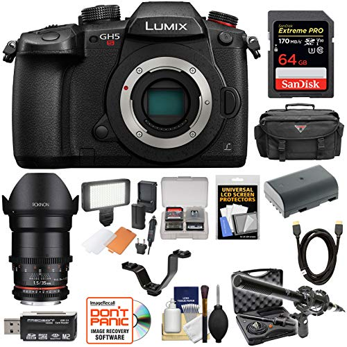 Panasonic Lumix DC-GH5S Wi-Fi C4K Digital Camera Body with 35mm T/1.5 CINE Lens + 64GB Card + Battery + Case + LED Light & Flash + Mic Kit