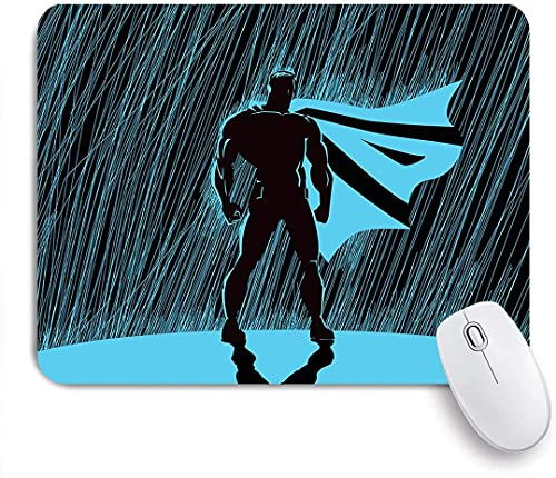 Alfombrilla de ratón para juegos, Hero in Rain at Night Dramatic Super Defender Macho Pride Neon Male Illustration, Alfombrilla de ratón con base de goma antideslizante para ordenadores portátiles Alf