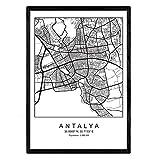 Nacnic Blade Antalya Stadtkarte im nordischen Stil schwarz
