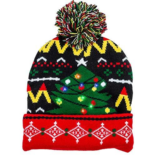Joyin Weihnachtsmütze, gestrickt, mit 6 blinkenden Modi, Schwarz