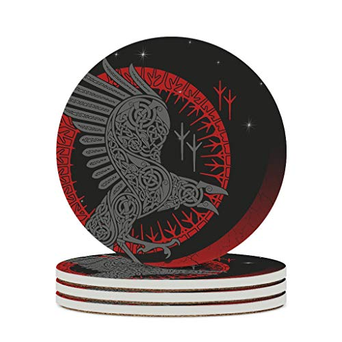 Posavasos de cerámica con diseño de cuerno triple, de Odin Viking, liso, base de corcho, para lounge white4, 4 unidades